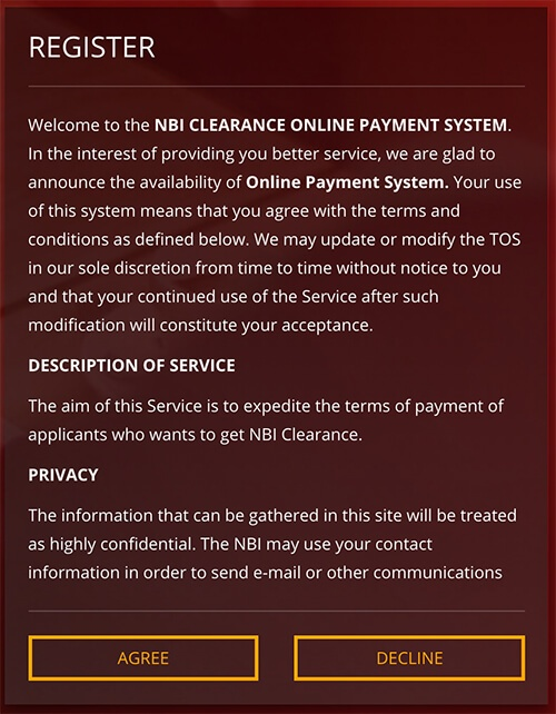 How To Apply Nbi Clearance Online Nbi Clearance Website Terms And Condition Agree