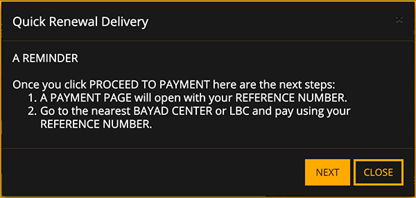 NBI Clearance Online Quick Renewal Next Button