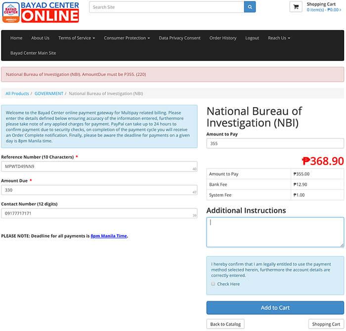 NBI Clearance Online Quick Renewal Payment Details