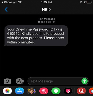 NBI Online One Time Password (OTP) Text Message