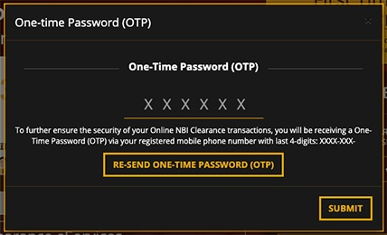 Enter NBI Clearance One Time Password