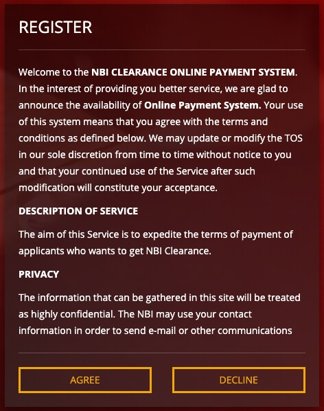 NBI Clearance Online Register Agree