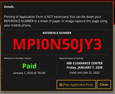 NBI Clearance Reference Number Paid