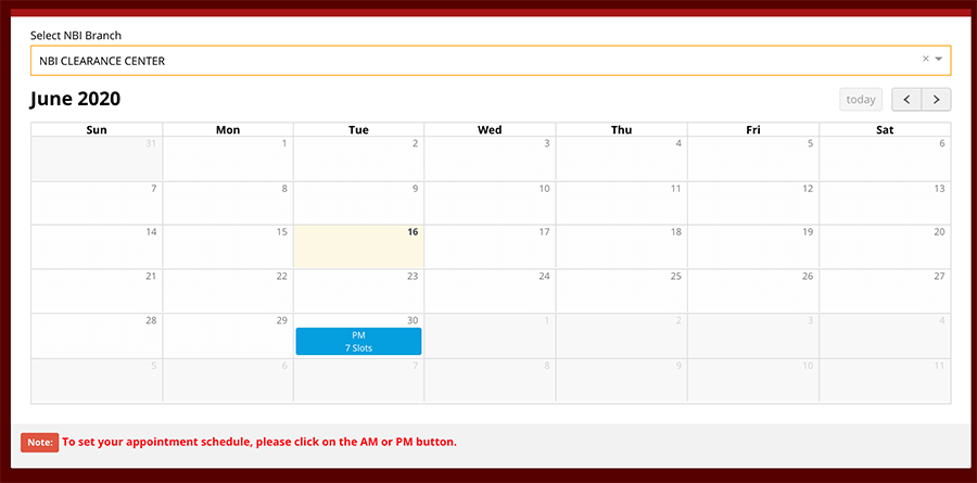 NBI Renewal Online Appointment Schedule image 7
